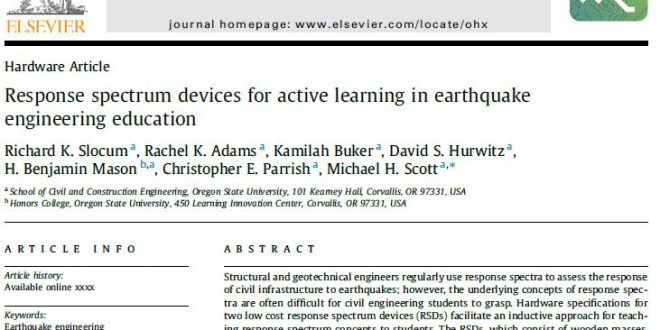Response spectrum devices for active learning in earthquake